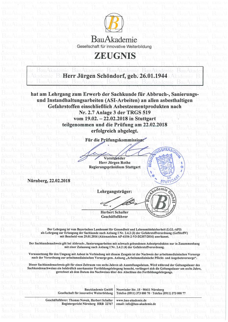 Zertifikat TRGs 519